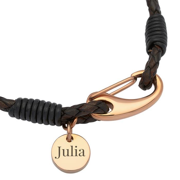 Doppelreihiges dunkelbraunes Leder-Armband