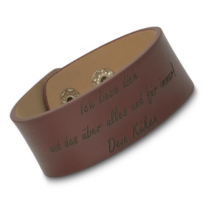 Gravierbares Leder-Armband braun inklusive Gravur