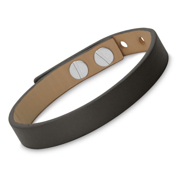 Gravierbares Armband Leder schwarz