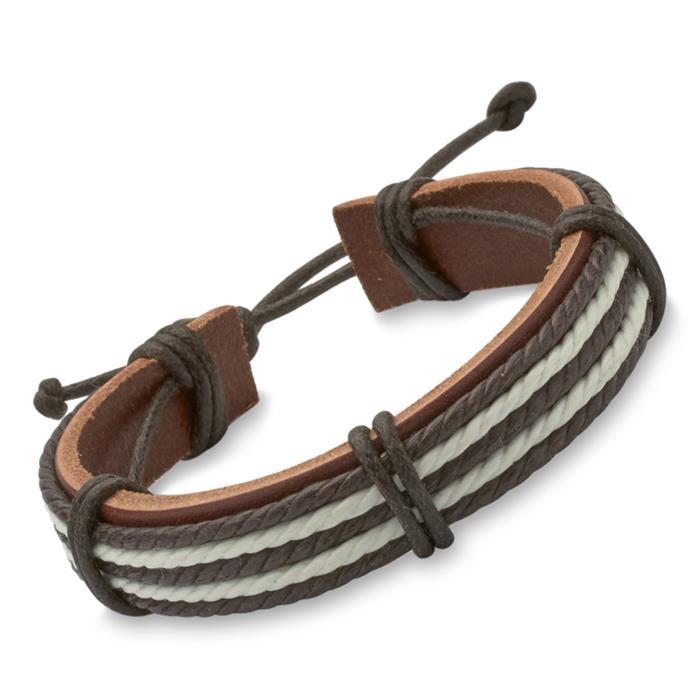 Unisex-Leder-Armband textile Details braun weiß