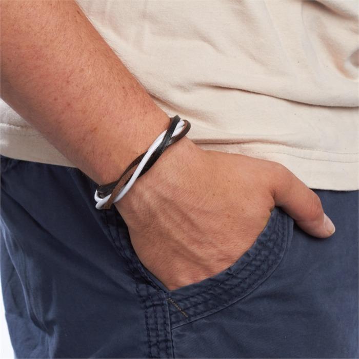 Armband Leder Textil schwarz weiß braun