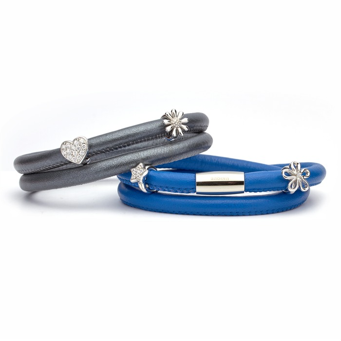 Zweireihiges Lederarmband für Charms royal blau