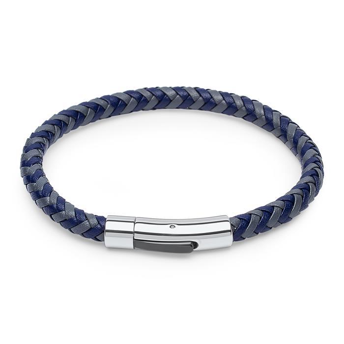 Geflochtenes Lederarmband grau/blau