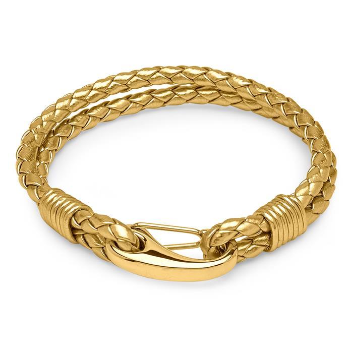 Zweifach gewickeltes Leder-Armband gold