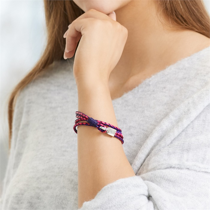Pink blaues Lederarmband mit Hakenverschluss Gravur