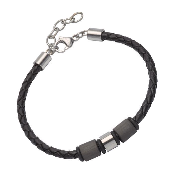 Armband aus schwarzem Leder mit Zierelementen