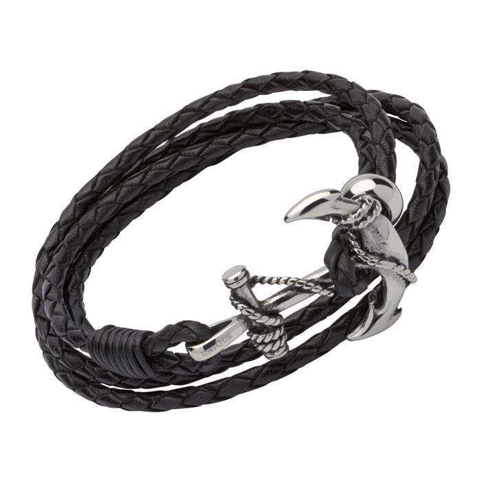 Armband schwarzem Leder mit einem Ankerverschluss