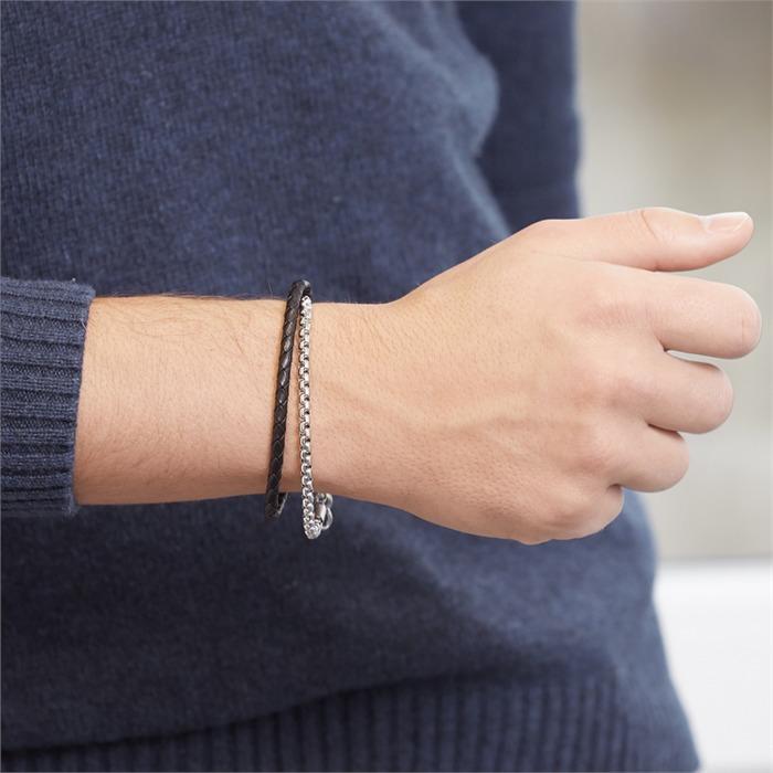 Edelstahl Leder Armband doppelt gewickelt