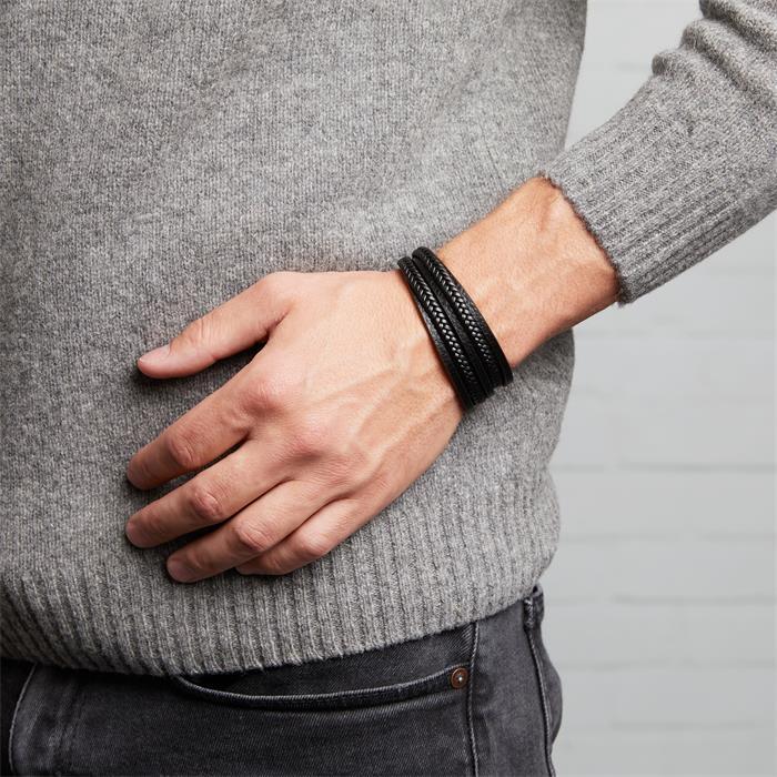 Mehrsträngiges Armband aus schwarzem Leder gravierbar