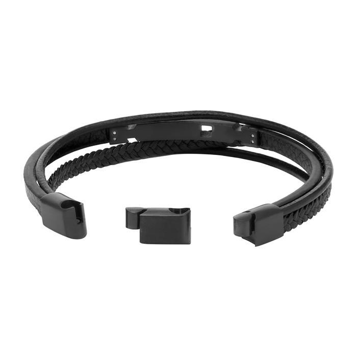 Armband aus schwarzem Leder mehrreihig gravierbar