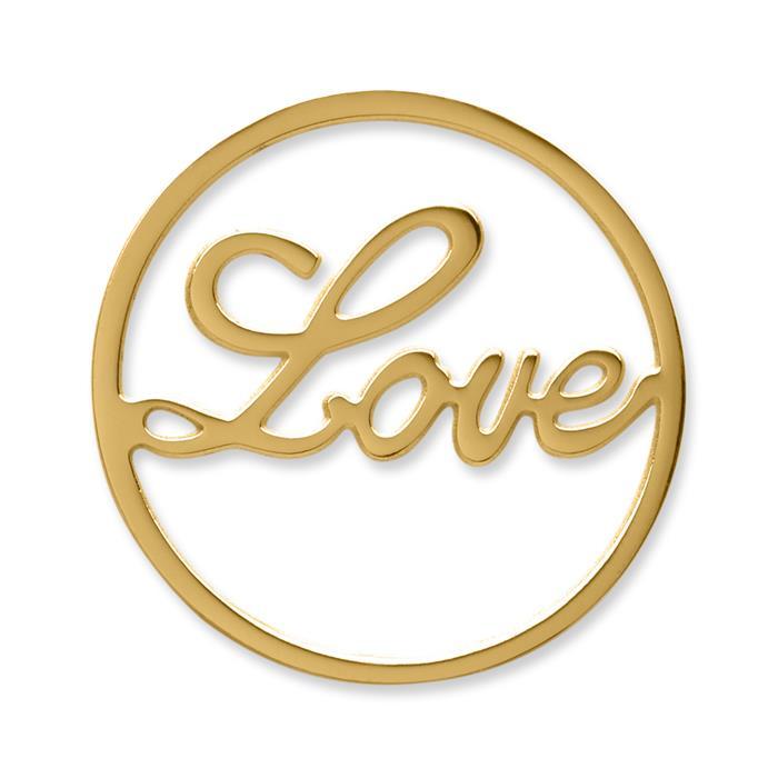Münze Edelstahl Love gelbgold