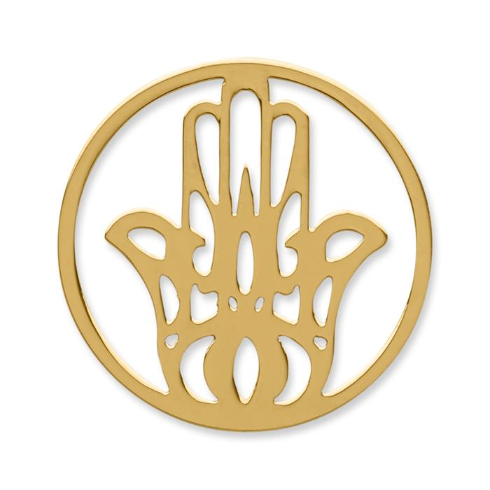 Münze Edelstahl Hand gelbgold