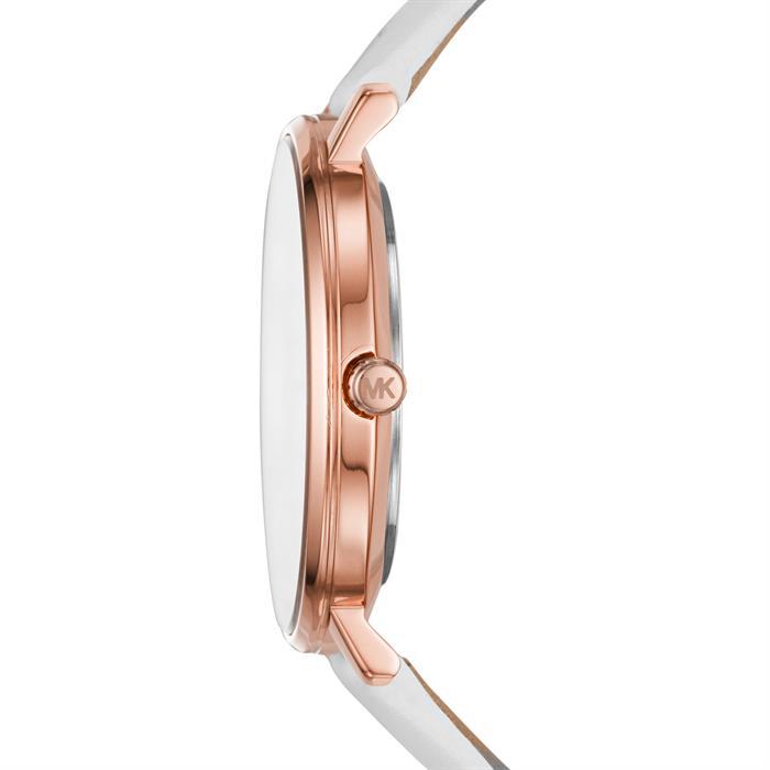 Damenuhr Pyper aus weißem Leder rosé