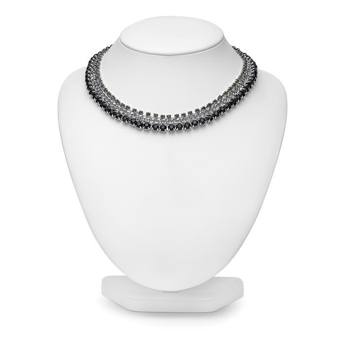 Damen Halskette mit schwarzen Steinen