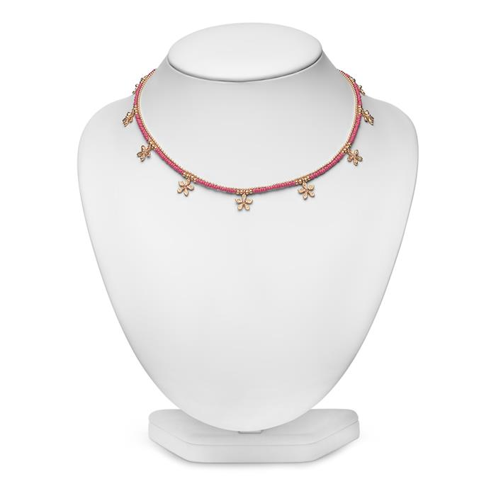 Halskette für Damen pink mit Blüten