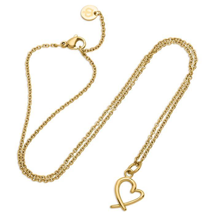Vergoldetes Edelstahlcollier mit Herzanhänger
