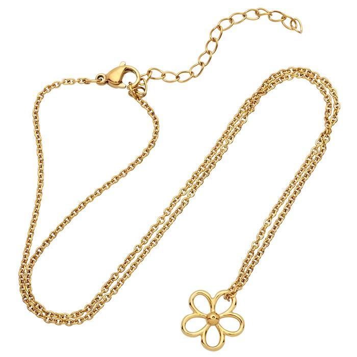 Vergoldetes Edelstahlcollier mit Blütenanhänger