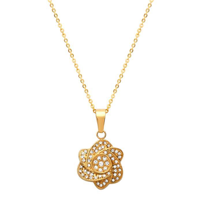Vergoldeter Edelstahlanhänger Blumen Zirkonia