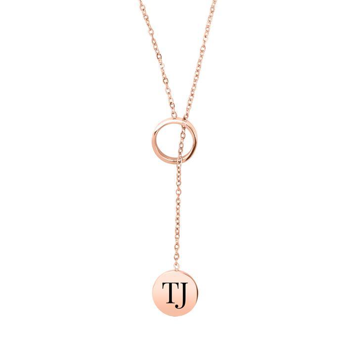Y-Halskette aus rosévergoldetem Edelstahl, gravierbar
