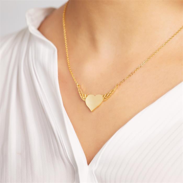 Kette mit geflügeltem Herz aus vergoldetem Edelstahl
