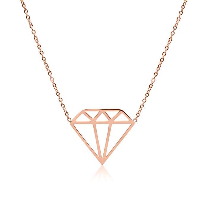 Kette Diamant aus rosévergoldetem Edelstahl