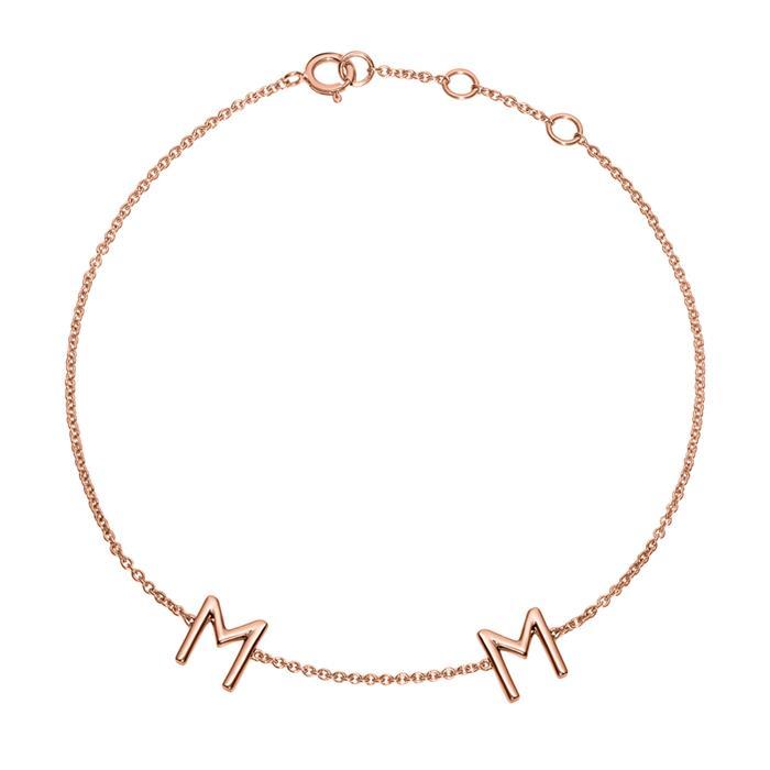 Ladies 14ct. Rose Gold Bracelet, 2 Letters, Symbols