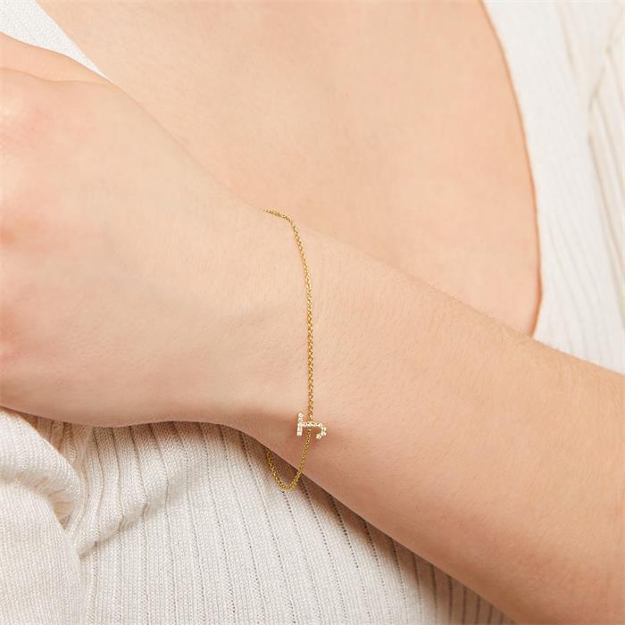 Armband aus 14K Gold mit Diamanten, Buchstabe, Symbol