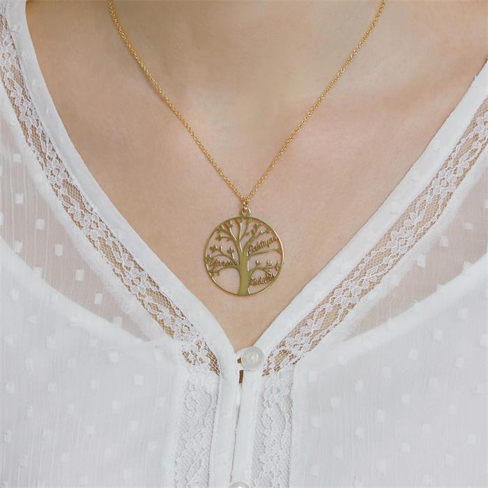 Personalized Engrave Rose Gold Plated Stainless Steel Necklace Monogram Necklace Tree Of Life Necklace Name Bridal Gift
