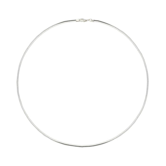 925er Silber-Halsreif Omega rhodiniert
