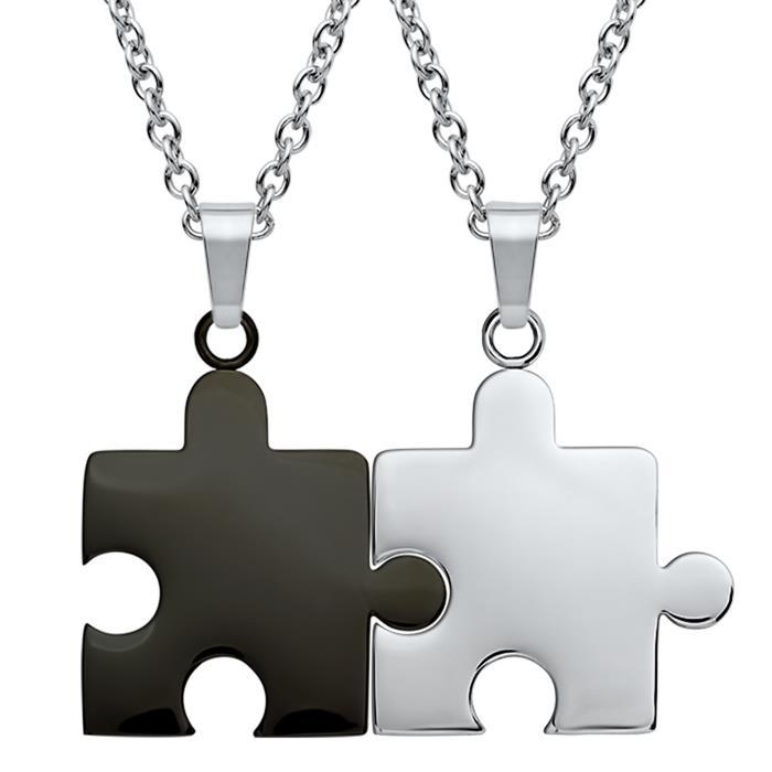 Anhänger Edelstahl Puzzleteil schwarz-silbern