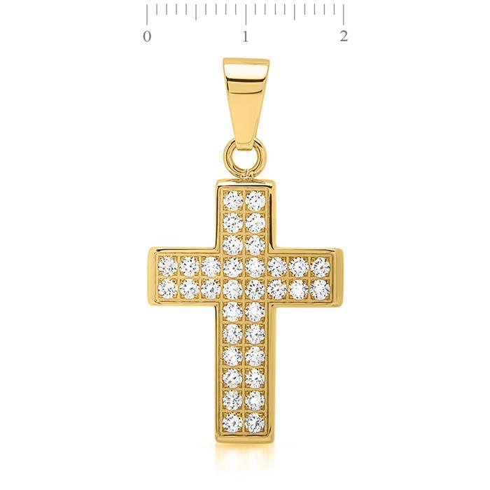 Edelstahlkette vergoldet mit Kreuzanhänger