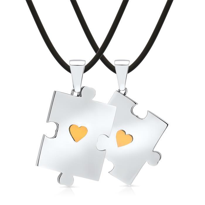 Kautschukhalsbänder mit zwei Puzzleanhängern