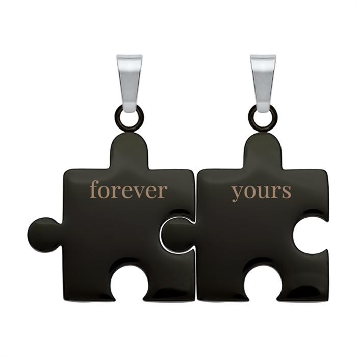 Partneranhänger Forever yours aus schwarzem Edelstahl