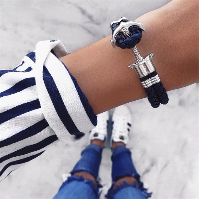 Anker-Armband Leder blau Edelstahl