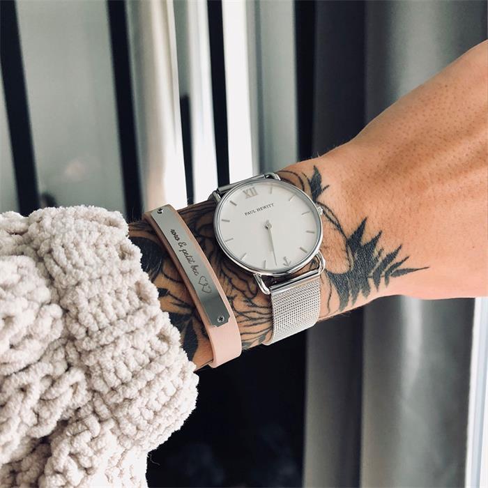 Armband Signum aus Edelstahl und Leder nude gravierbar