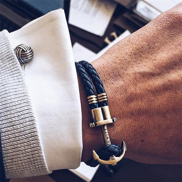 Marineblaues Phrep-Armband Anker