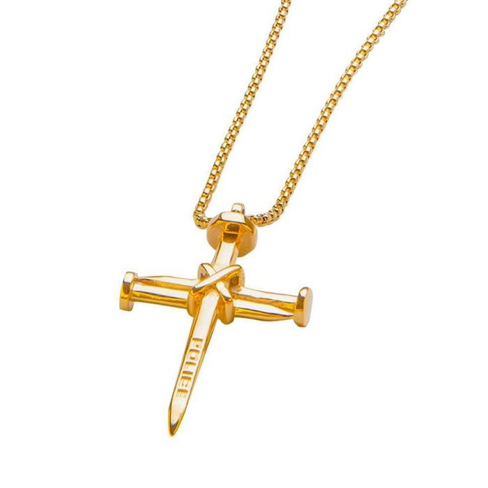 Kette Kreuz für Herren aus vergoldetem Edelstahl