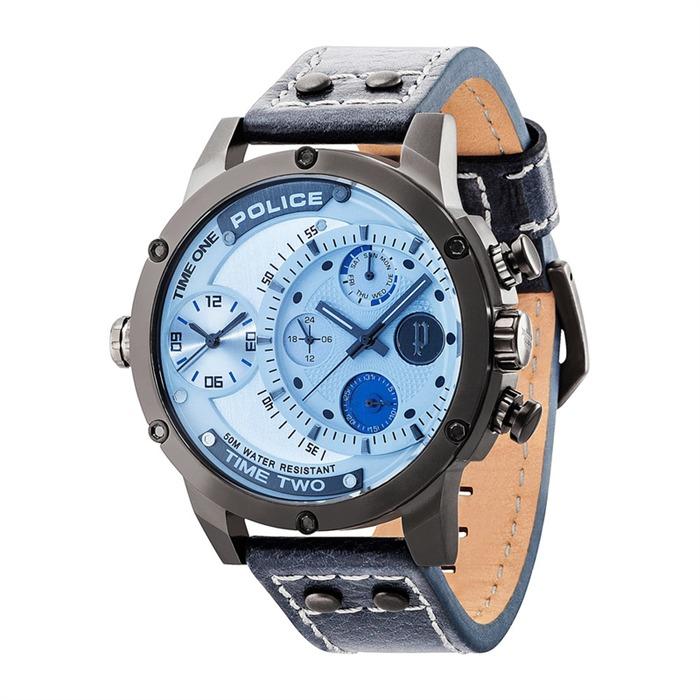 Adder-Uhr Leder schwarz blau
