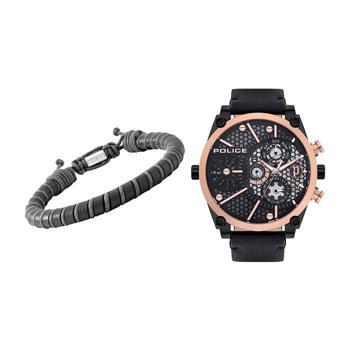 Set Vigor mit Uhr und Armband für Herren, schwarz
