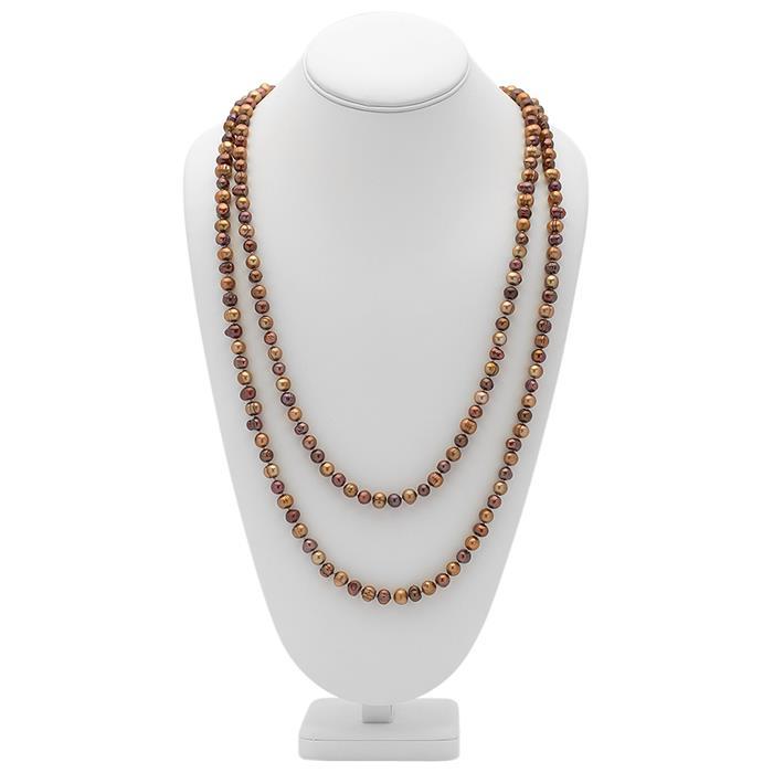 Hochklassige Halskette aus rot-braunen Perlen
