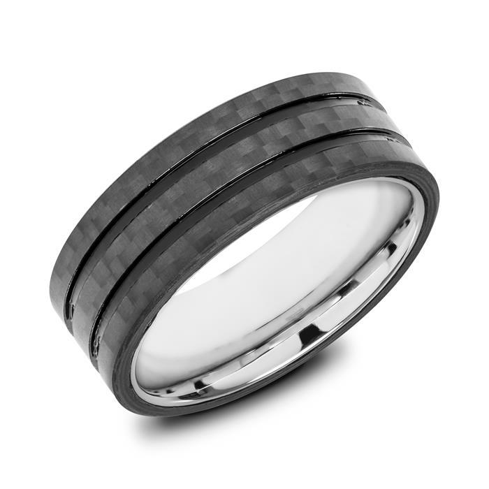 Unique Ring aus Edelstahl und Carbon R5007SL