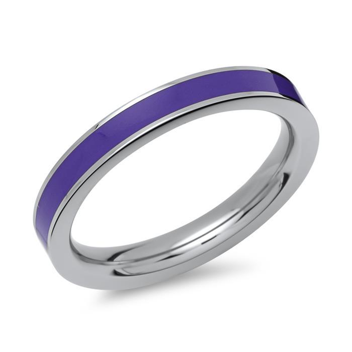 Ring aus Edelstahl Emaille-Einlage lila