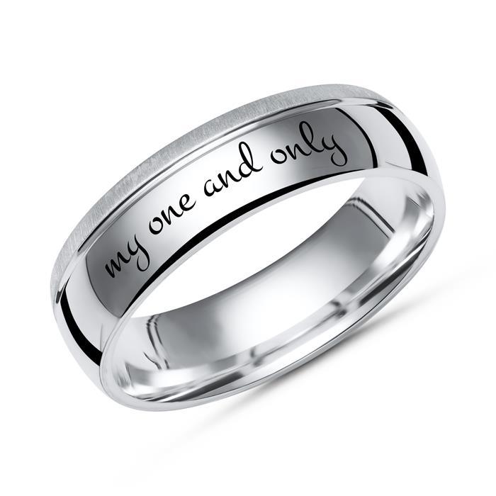 Ring teilpoliert 925 Silber inkl. Lasergravur