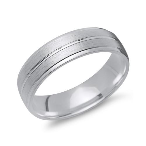 Matter Silber Ring Glanzrille 925 Silber in 6 mm