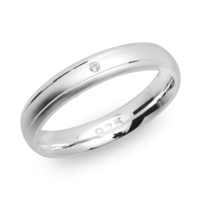 Ring 925 Silber mattiert 4mm Zirkonia