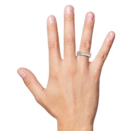 Bicolor Ring 925er Sterlingsilber gravierbar