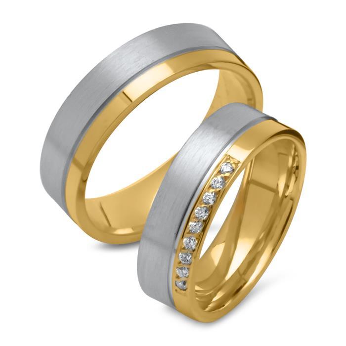 Partnerringe teilvergoldet 925er Silber