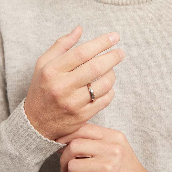 925er Silber Ring teilrosévergoldet Herren