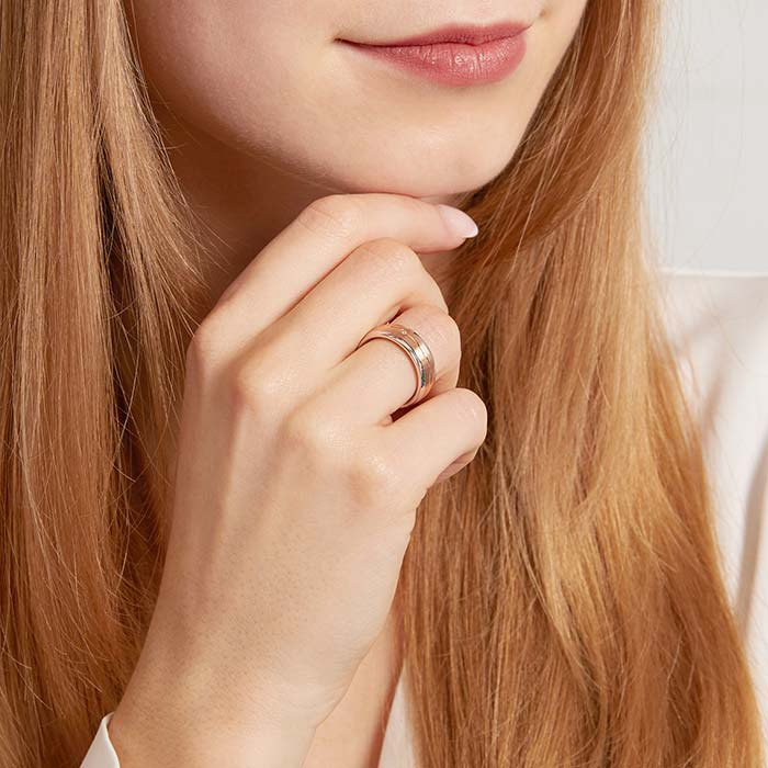 Damenring Sterlingsilber bicolor Zirkonia