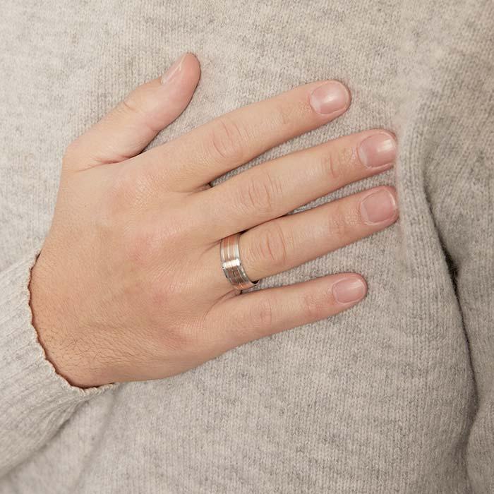 Ring für Herren aus 925er Silber rosévergoldet